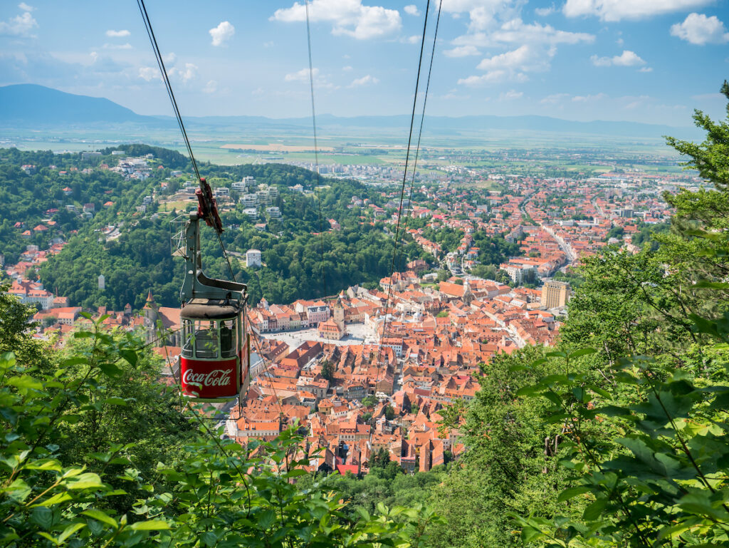 A gondola ride to the top of Mount Tampa in Brasov.