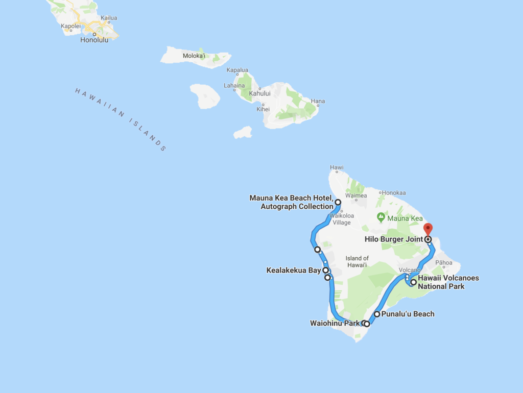 A Google map of Erika's route around the Big Island.