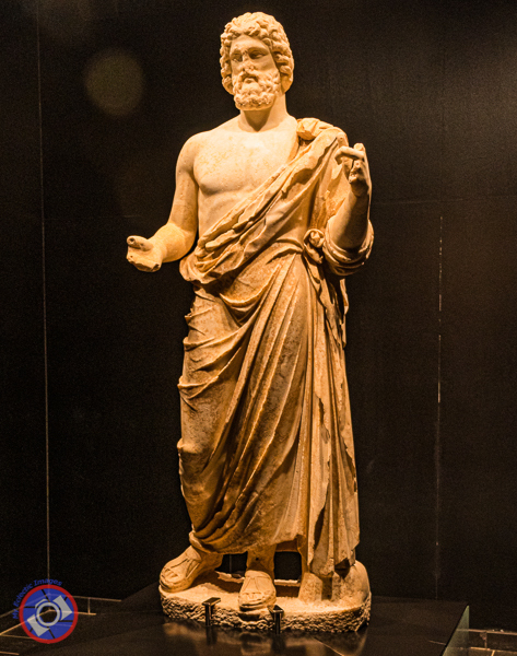 A Greek statue of Asclepius in the museum.