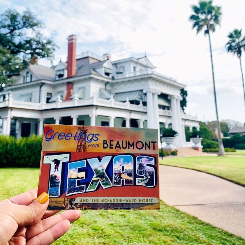 """A """"Greetings from Beaumont, Texas"""" postcard."""
