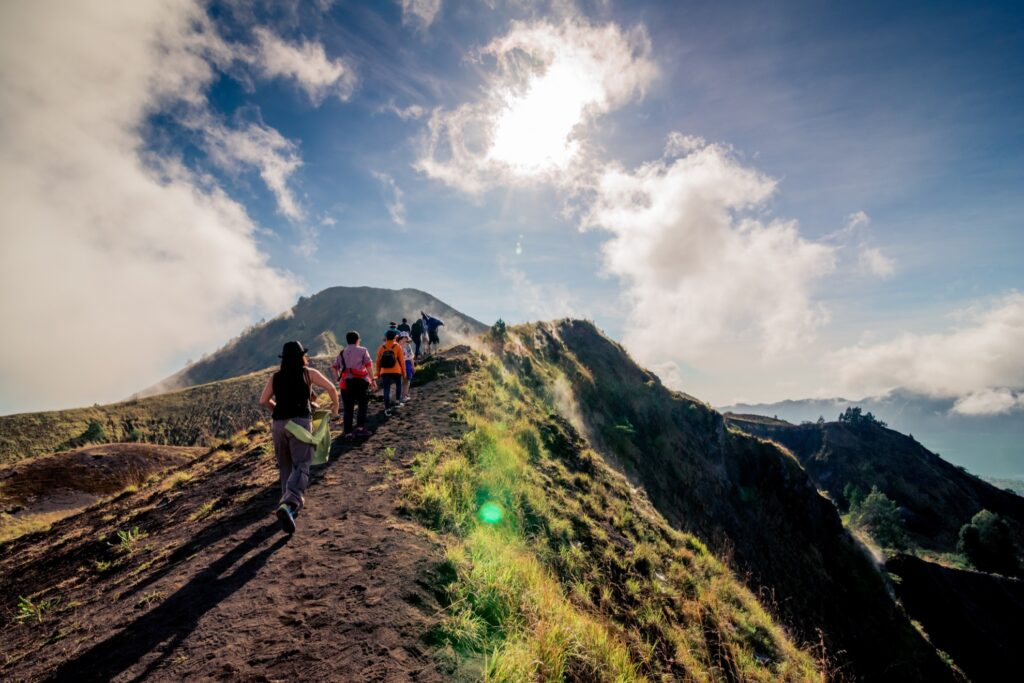 A group of hikers on Mount Batur.