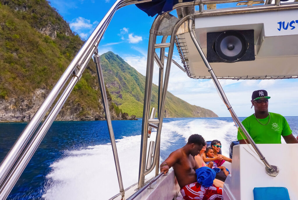 A group of tourists on a speed boat in Saint Lucia.