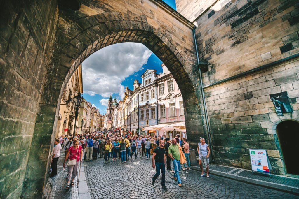 A group tour of Prague.