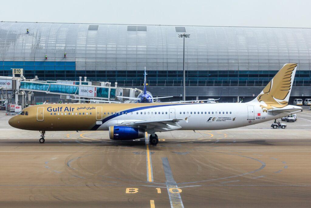 A Gulf Air plane.