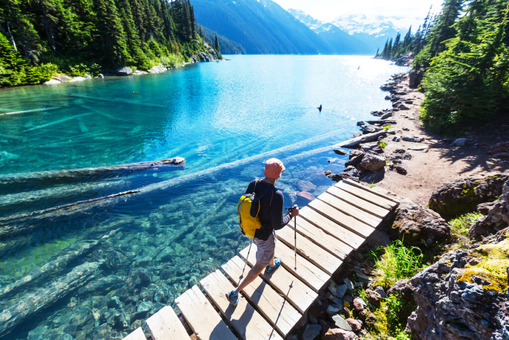 A hiker enjoying summertime in Whistler, British Columbia.