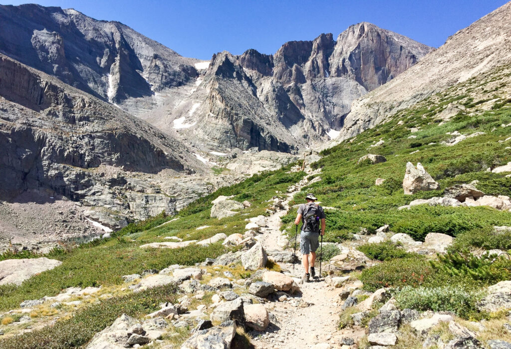 A hiker on the Chasm Lake trail.