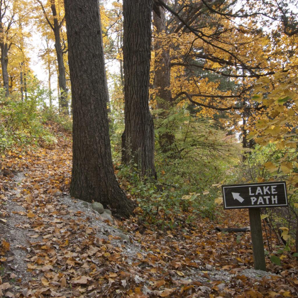 A hiking trail near Lake Geneva in Wisconsin.