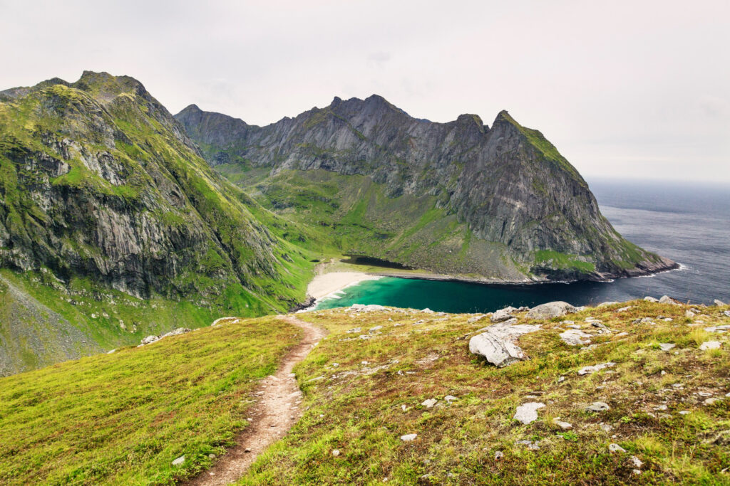 A hiking trail near the Lofoten Islands.