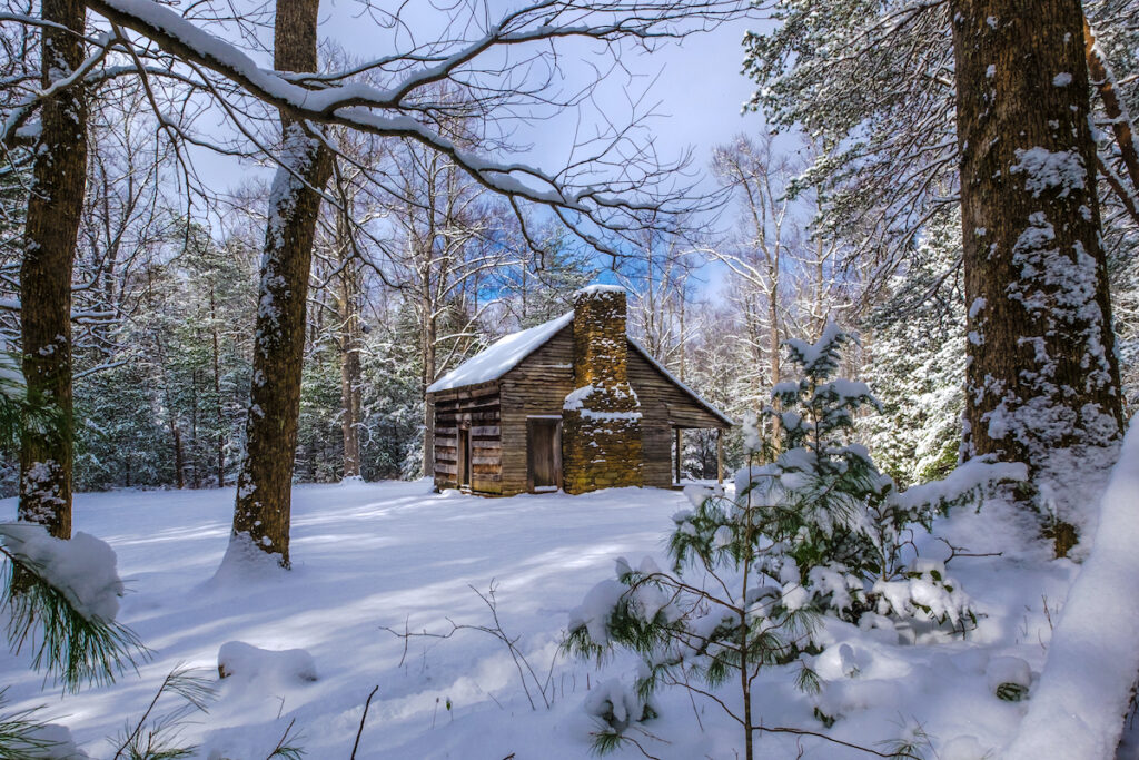 A historic cabin in the Smoky Mountains.