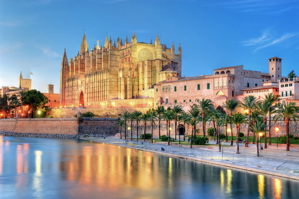 A historic cathedral in Palma, Mallorca.