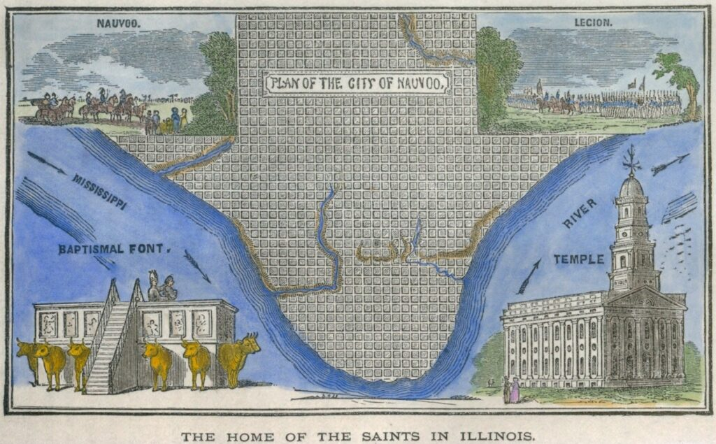 A historic illustration of Nauvoo in the 1800s.