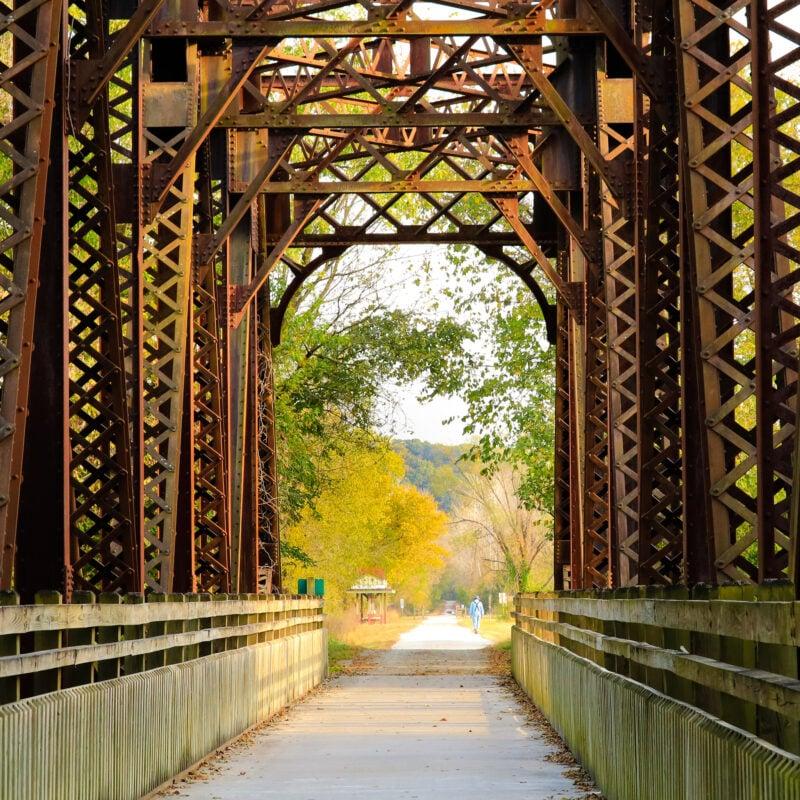 A historic railroad bridge along the Katy Trail in Missouri.