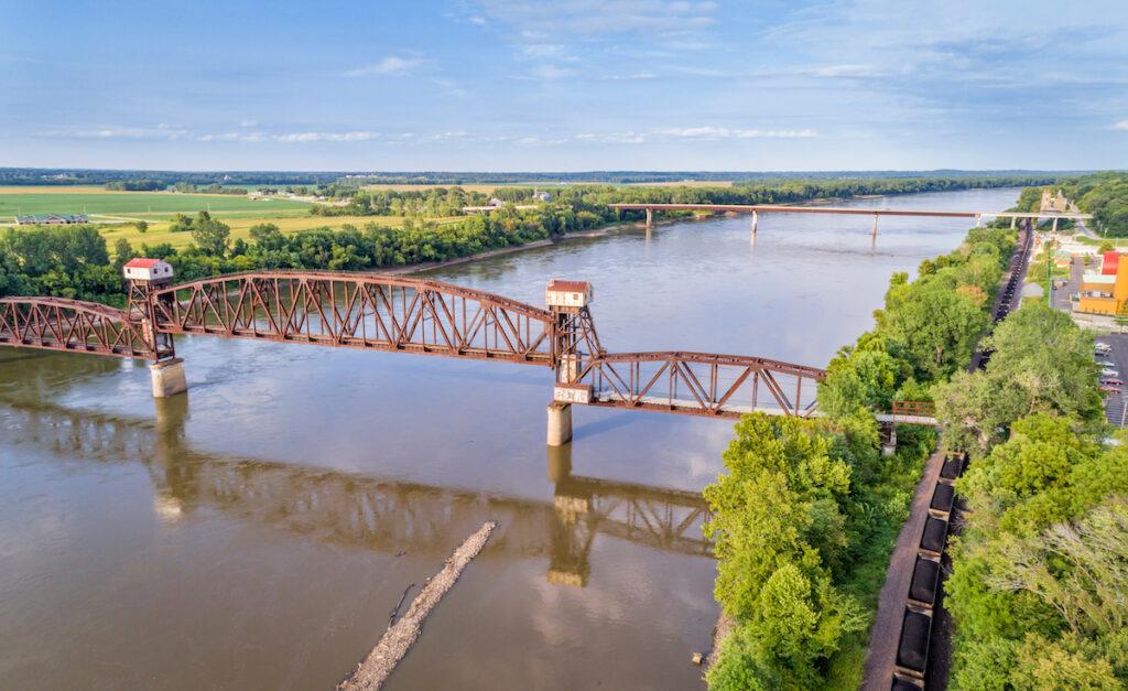 A historic railroad bridge in Boonville, Missouri.