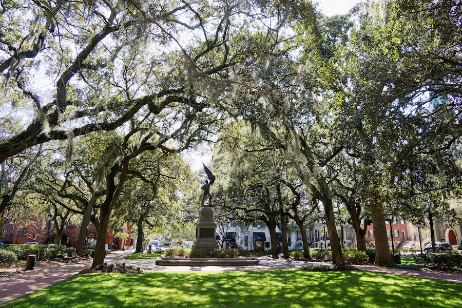 A historic square in Savannah, Georgia.