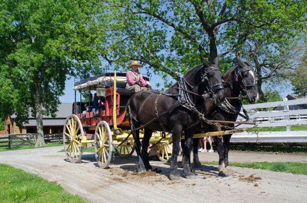 A historic stagecoach at the Mahaffie Farm in Olathe.