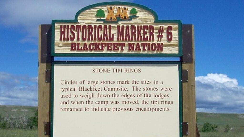 A historical marker along the Blackfeet Trail Tour.