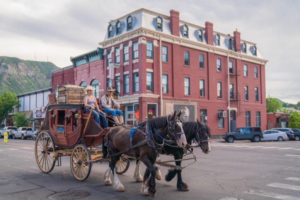 A horse-drawn carriage in downtown Durango.