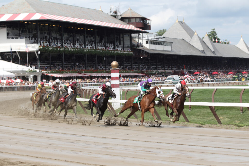 A horse race at Saratoga Race Course in upstate New York.