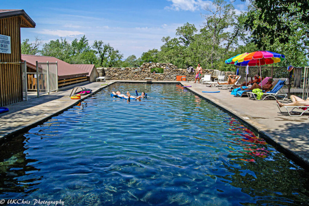A hot spring-fed swimming pool in Valley View.