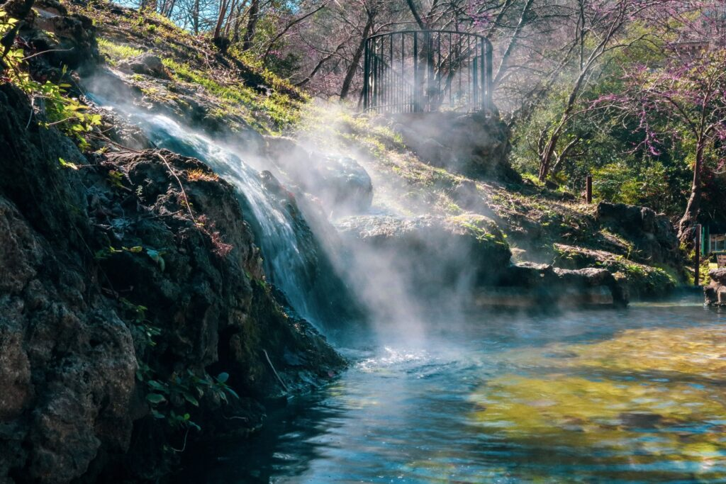 A hot water cascade in Hot Springs, Arkansas.