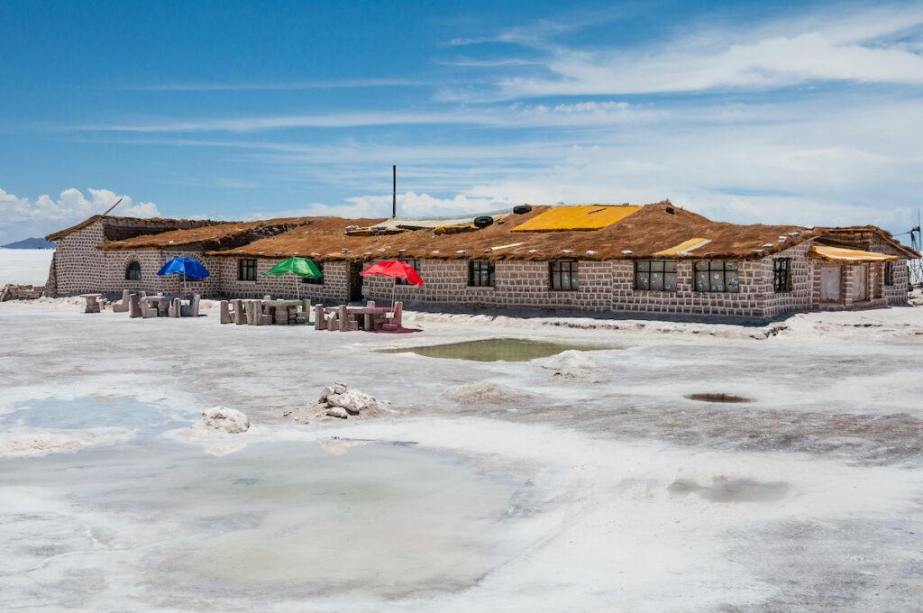 A hotel built of salt blocks at the Uyuni Salt Flats in Bolivia.