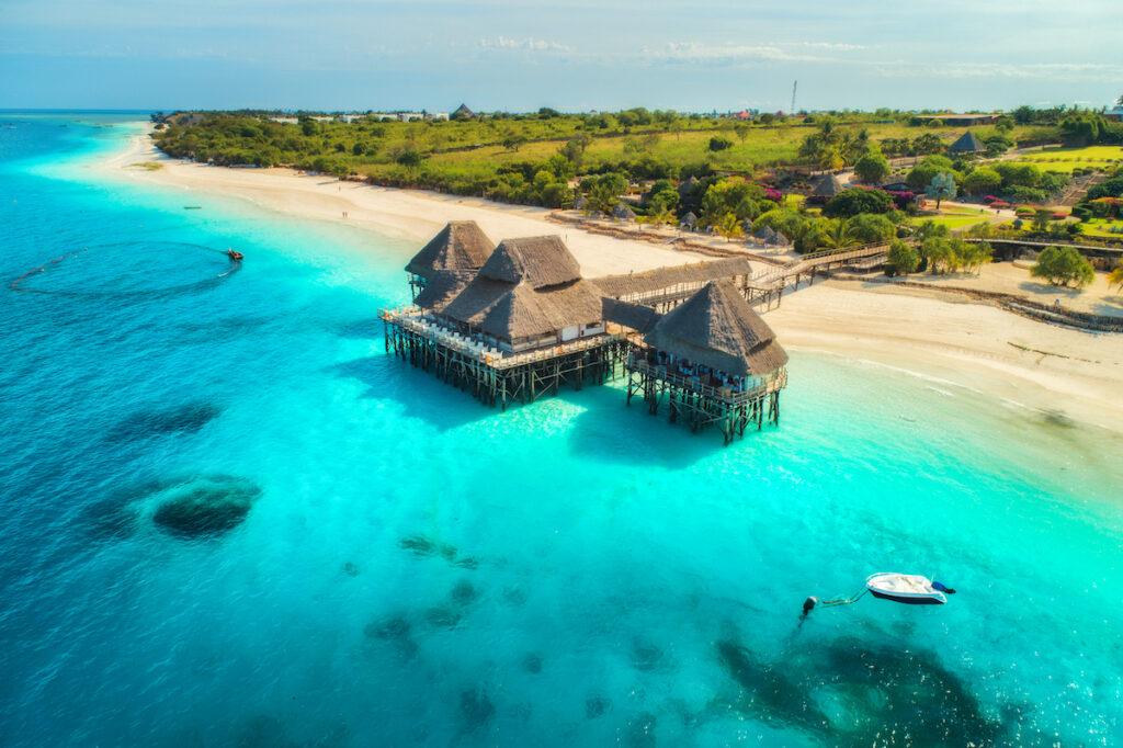 A hotel on the coast of Zanzibar.
