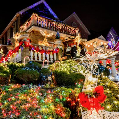 A house decorated with extravagant Christmas lights in Dyker Heights.
