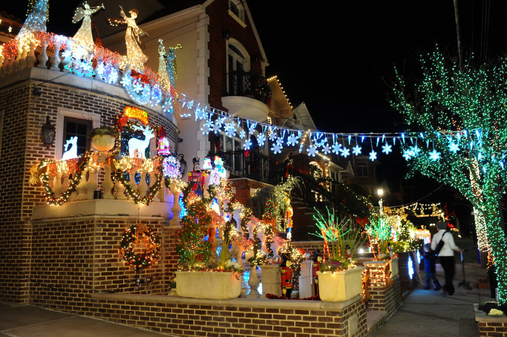 A house in Dyker Heights decorated for Christmas.