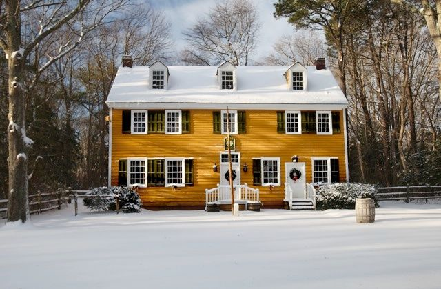 A house in Historic Cold Springs Village during Christmas.
