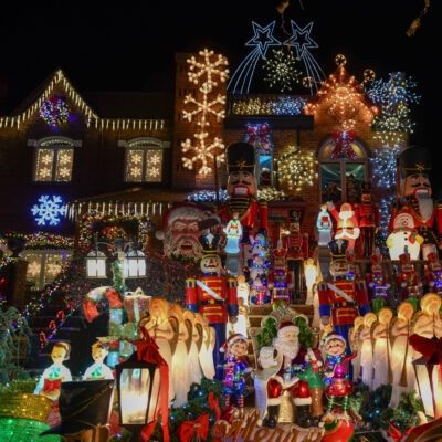A house in New York City's Dyker Heights neighborhood during Christmas.