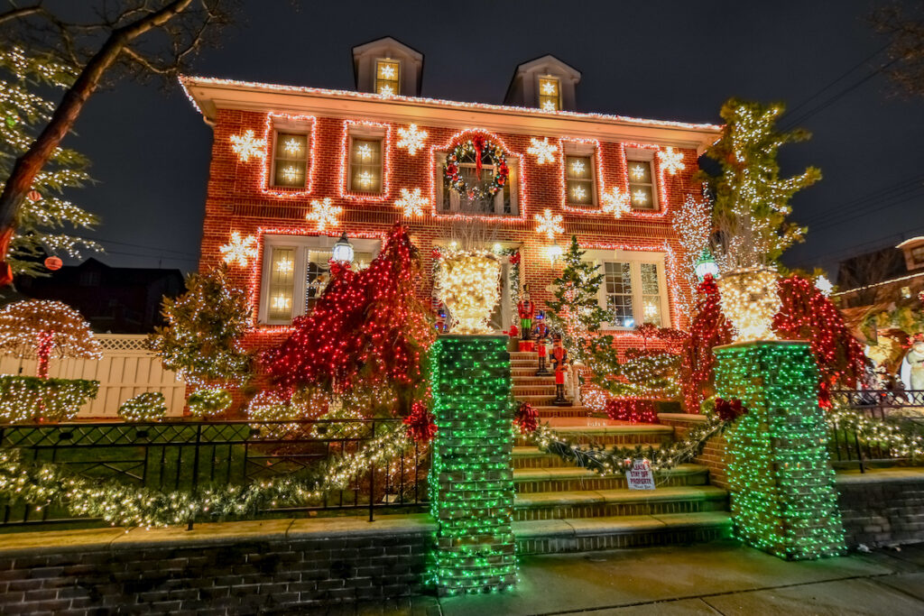 A house in New York City's Dyker Heights during Christmas.