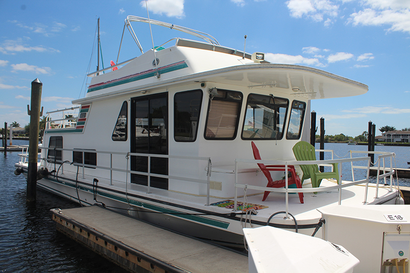 A houseboat rental at the Port of the Islands Marina.