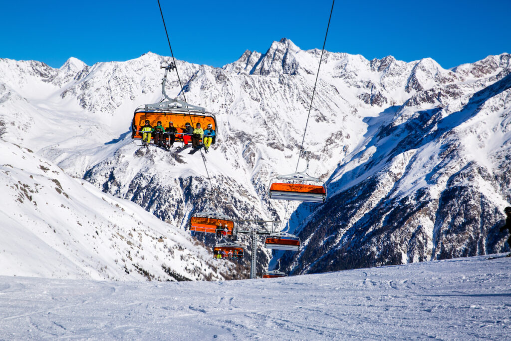 A huge ski lift in Soelden, Austria.