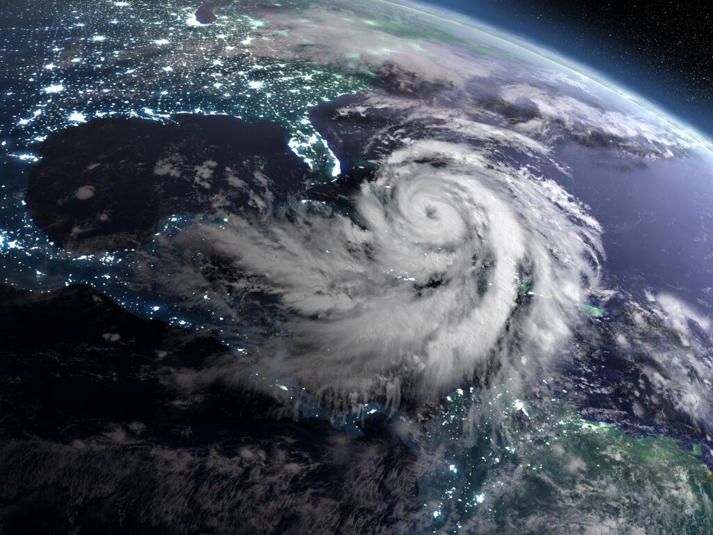 A hurricane in the Caribbean.