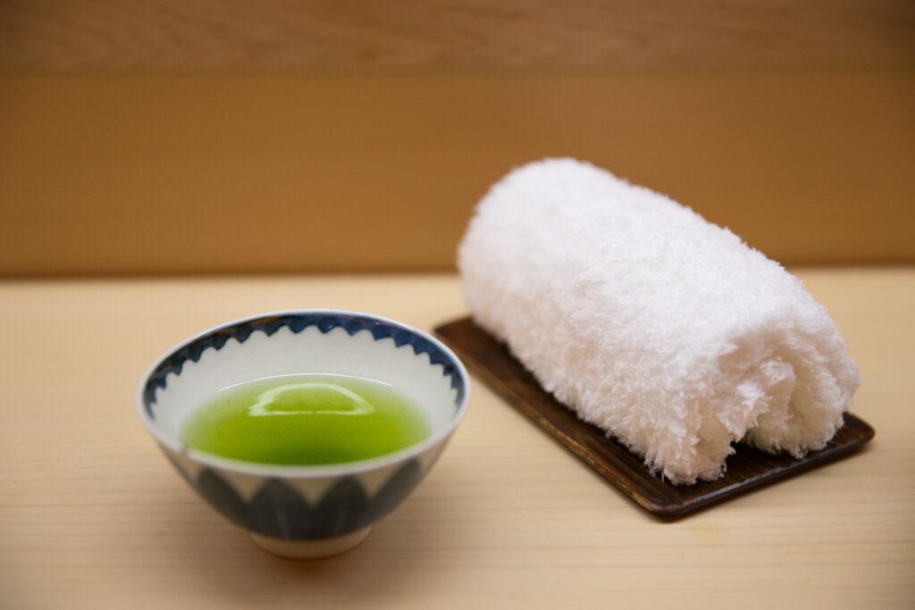 A Japanese oshibori towel