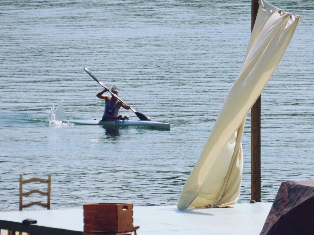 A kayaker on Lake Sidney Lanier.