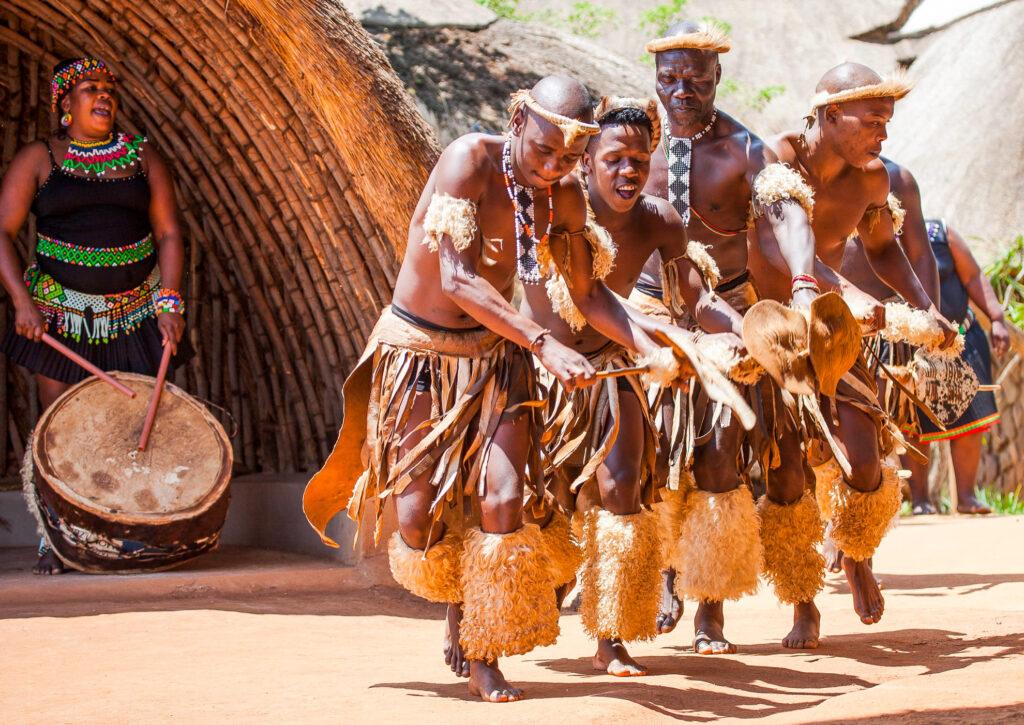 A kick-dancing performance by a Zulu tribe.