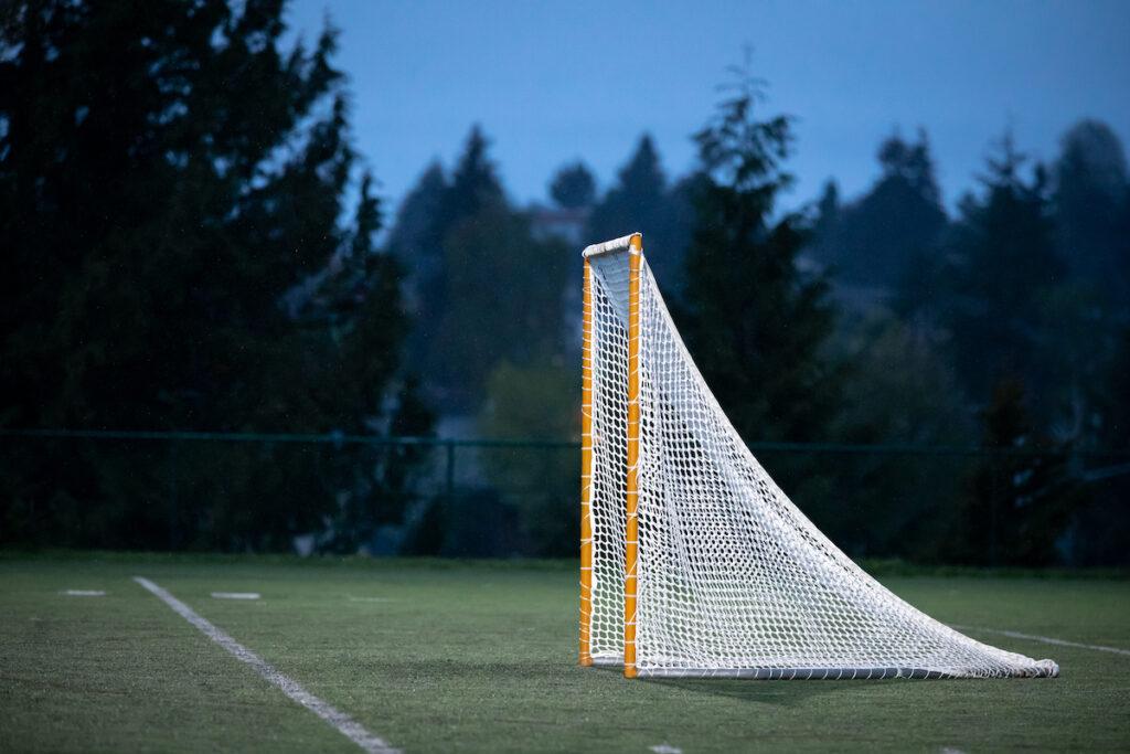 A lacrosse net in the evening.