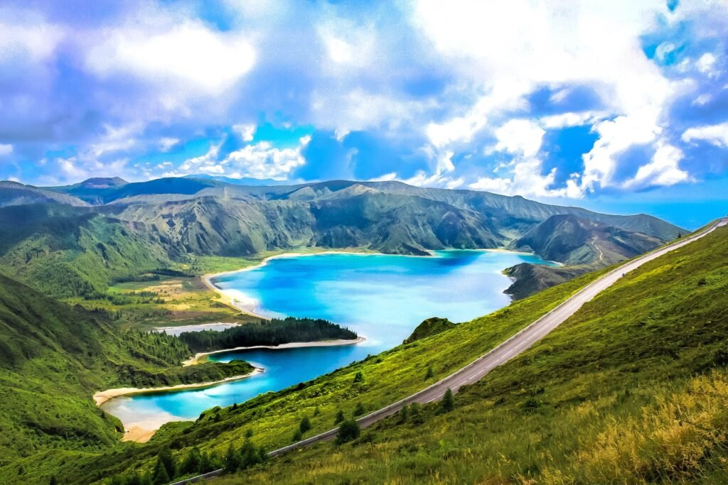 A lake created from a volcanic crater in the Azores.