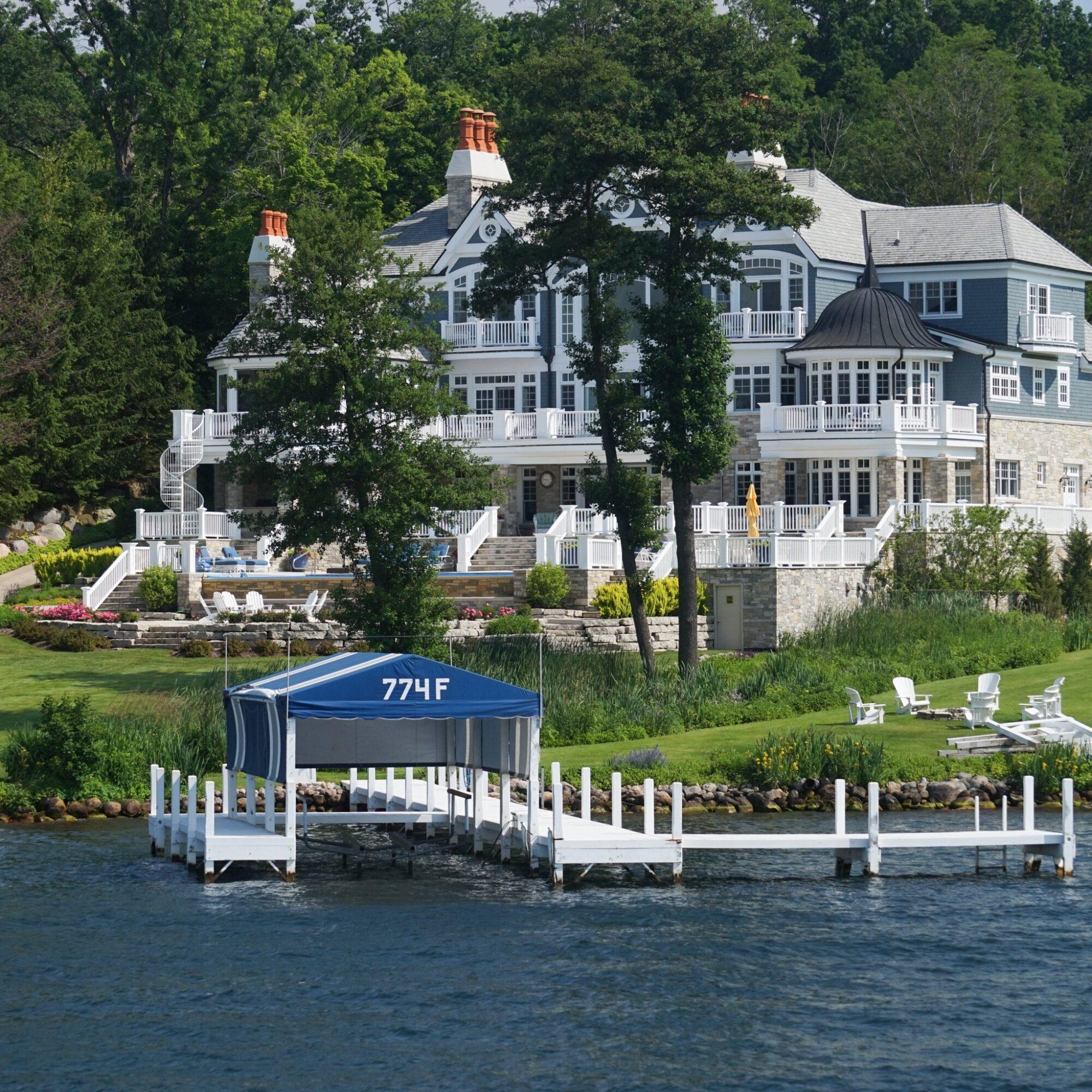 A lakeside mansion in Lake Geneva, Wisconsin.