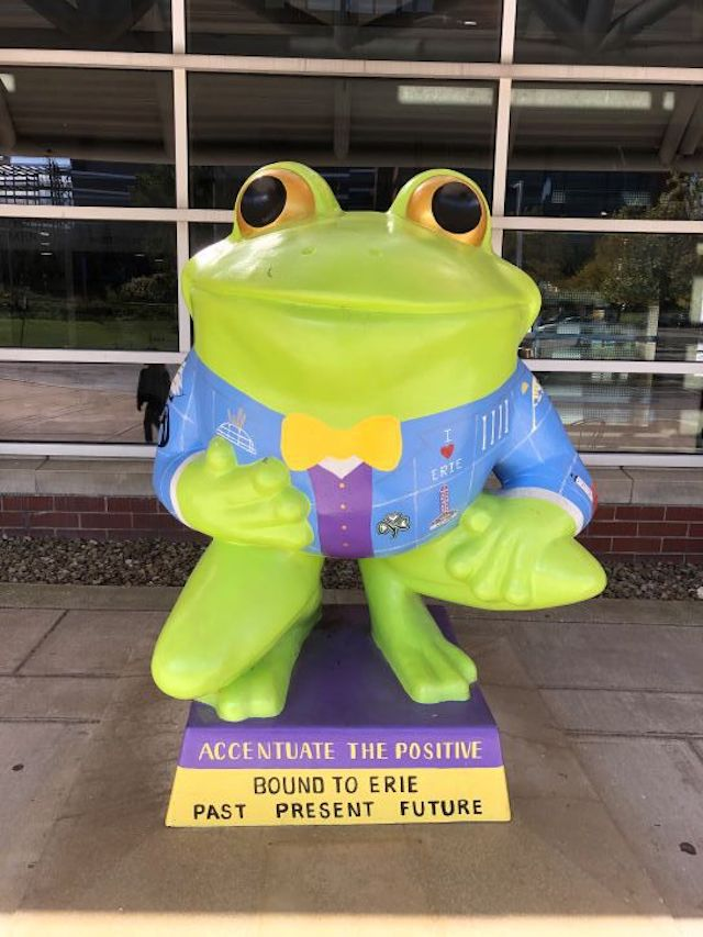 A Leap Frog statue in Erie, Pennsylvania.