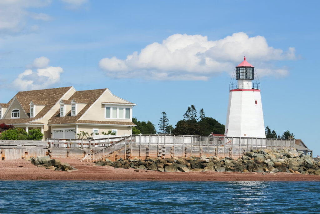 A lighthouse at St. Andrews By-The-Sea in New Brunswick, Canada.