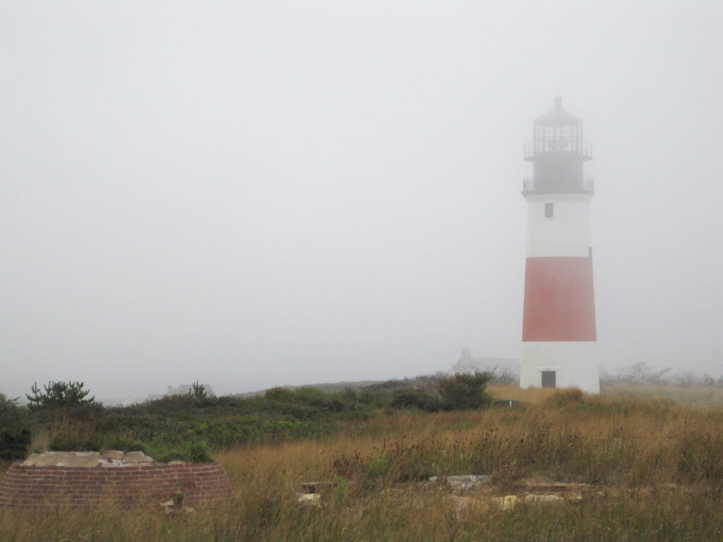 A lighthouse obscured by fog in Nantucket.