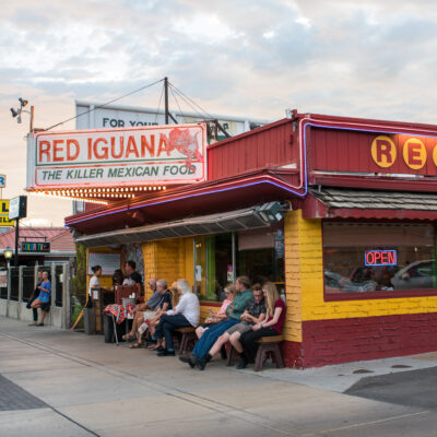 A line of customers outside the Red Iguana in Salt Lake City.