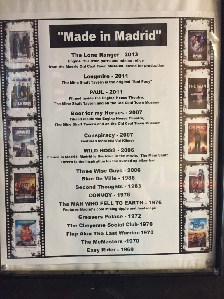 A list of movies filmed in Madrid, New Mexico.