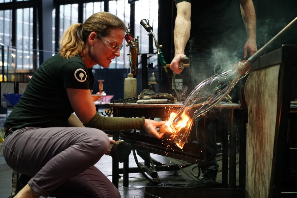 A live demonstration at the Corning Museum of Glass.