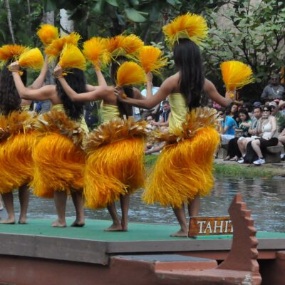 A luau performance Canoe Pageant at Polynesian Cultural Center.