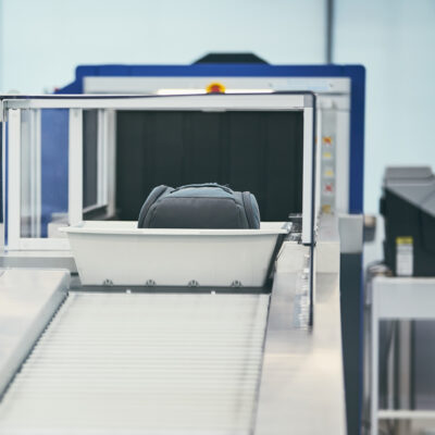 A luggage scanner at an airport.