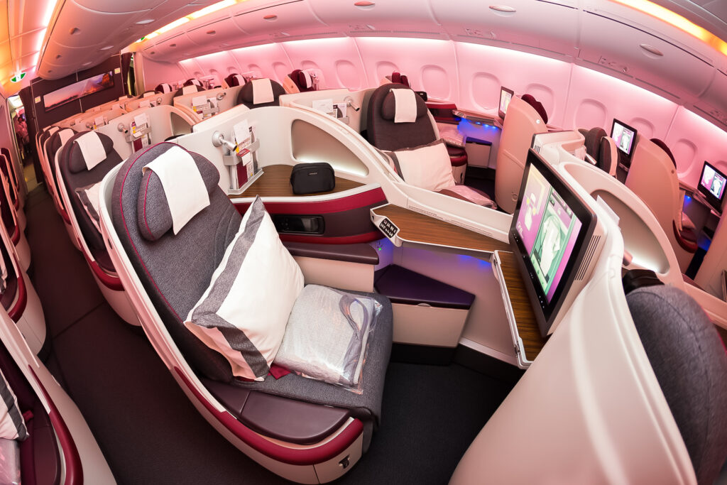 A luxurious first class seat on an airplane