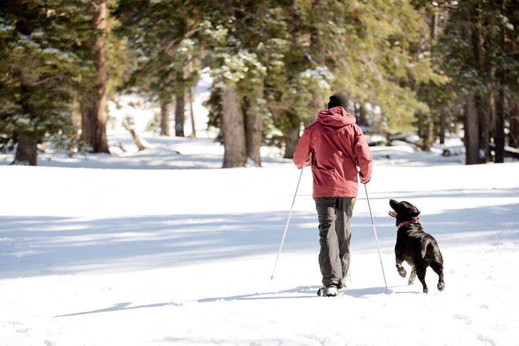 A man snowshoeing in Big Bear, California.